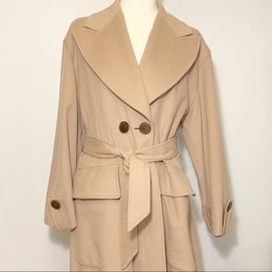 VTG Guy Laroche long belted trench coat Sz 40/8 US